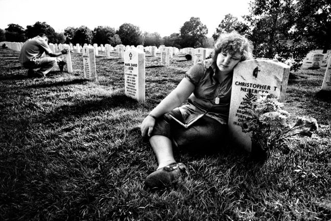 Ami Neiberger-­Miller at the grave of her 22-­year-­old brother